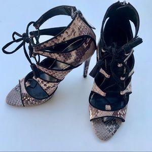 Zara Python Skin Lace up Sandal Heels